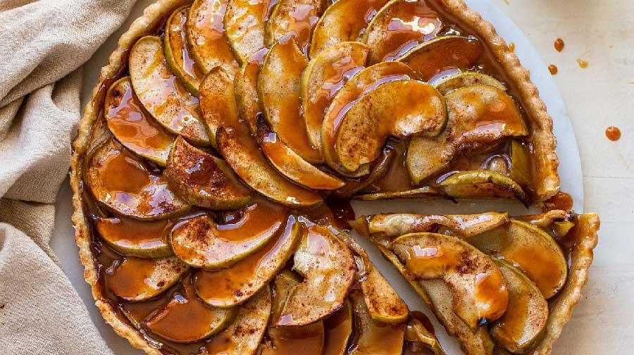 tarta de manzana con caramelo receta facil