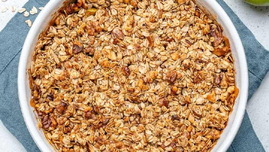 receta de crumble de manzana y avena