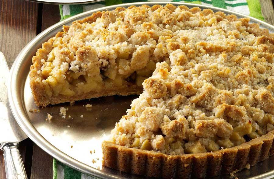 receta de tarta crumble de manzana